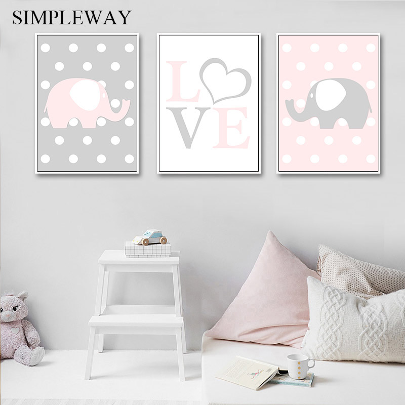 Baby Nursery Wall Art Canvas Print Elephant Love Poster Simple Painting Decorative Picture Nordic Kids Child Bedroom Decoration in Painting Calligraphy from Home Garden