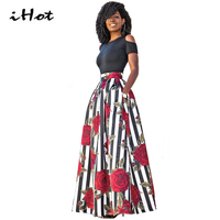 IHOT New Two Pieces Casual Women Maxi Dresses Off Shoulder Short Sleeve Black Top Long Striped