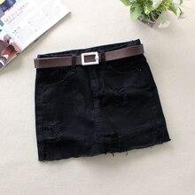 Женские джинсовые юбки с рваными дырами, летние узкие юбки, однотонные черные, белые джинсы со средней талией, повседневные мини-юбки-карандаш