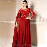 Саудовская Аравия Обёрточная бумага для матери невесты платья плюс Размеры одежда с длинным рукавом Элегантные шифон Кружева Красный Для ж