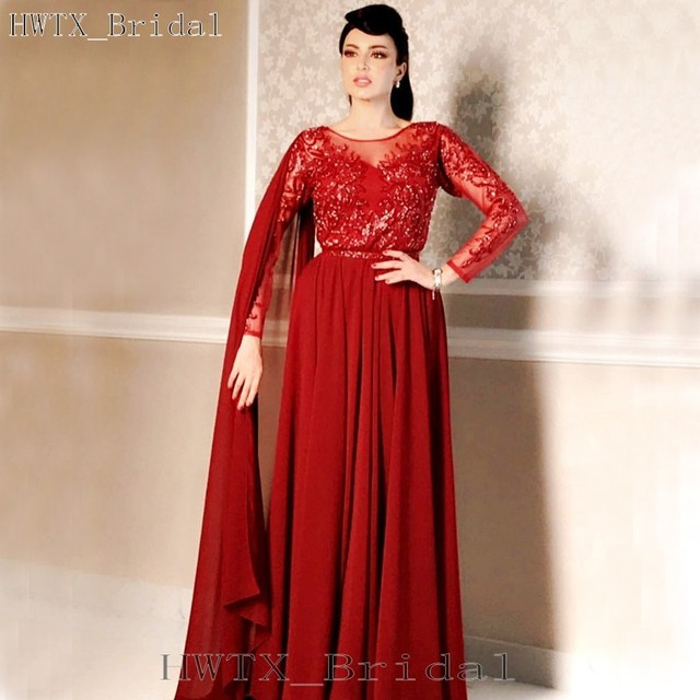 f5360f73322a Saudi Arabia Wrap Mother Of The Bride Dresses Plus Size Long Sleeves  Elegant Chiffon Lace Red Women Formal Evening Gowns 2018
