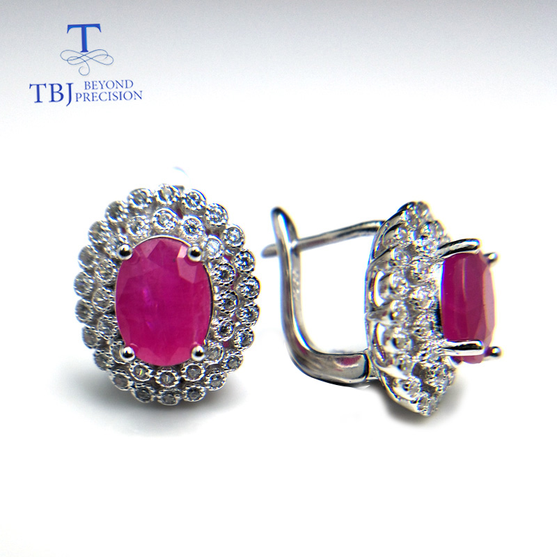 TBJ Classic diana clasp earring with natural africa ruby precious gemstone 925 sterling silver jewelry for