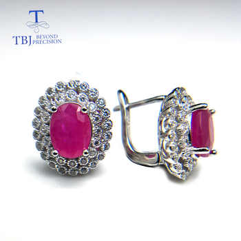 TBJ,Classic diana clasp earring with natural africa ruby  precious gemstone 925 sterling silver jewelry for women lady nice gift - DISCOUNT ITEM  8% OFF All Category