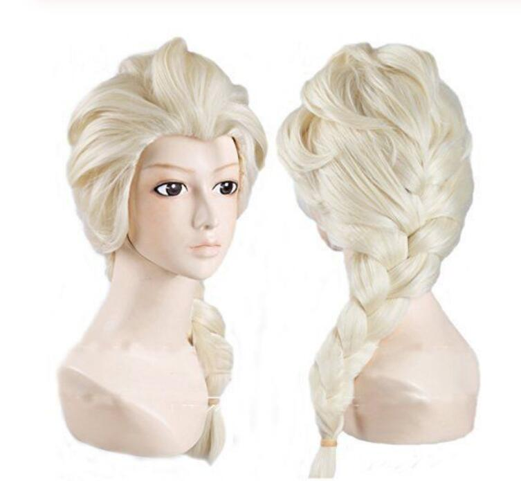 Jewelry Wig Frozen Elsa Princess Cosplay wig Long Weaving Braid Light Blonde Wigs Free Shipping