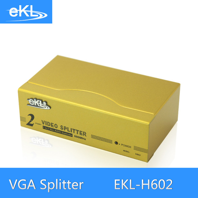EKL 2 Port VGA Splitter High Frequency 1 In 2 Out VGA Distributor 600MHz Metal Case Cooling Fast