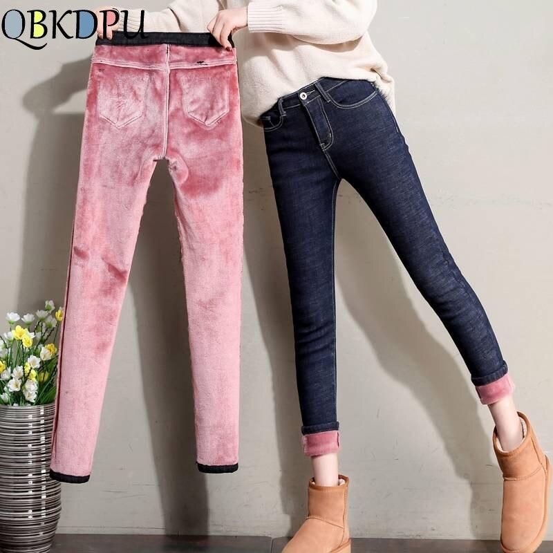 Plus Velvet High Waist   Jeans   Women Pants Slim Elastic Warm Vintage   Jean   Femme Denim Pencil Pants 2019 Thick Skinny   Jeans   Winter
