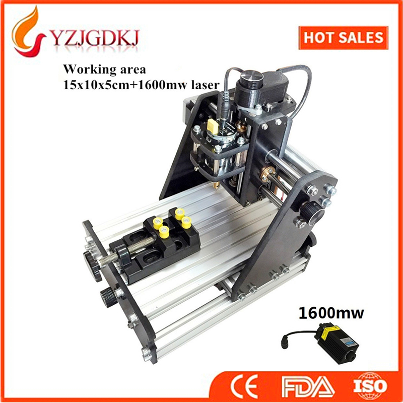 CNC 1510+1600mw laser GRBL control Diy high power laser engraving CNC machine,3 Axis pcb Milling machine,Wood Router+1.6w laser