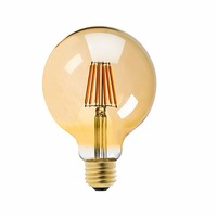 Gold Tint 8W 2200K G125 LED Filament Bulb Edison Globe Shape E26 Base 100V For Japan