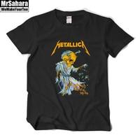 Metallica Damaged Justice Men T Shirt Heavy Metal Tee Shirt Homme Rock Roll Short Sleeve Print