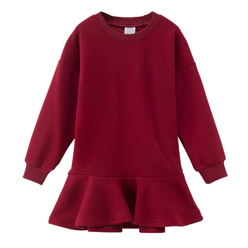 kids & big girls long sleeve rib hem fleece ruffle flare princess party dresses child wine red coffee tail winter dress bell sleeve rib knit dress