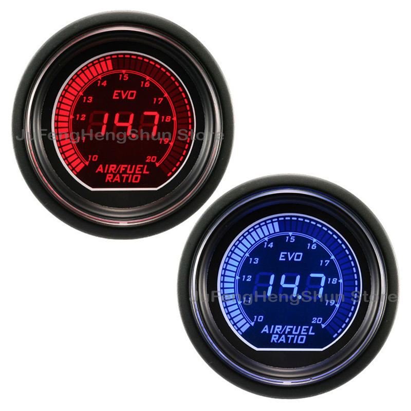52mm Car Air Fuel Ratio Gauge Blue and Red LED Light 12V Tint Lens Fuel level