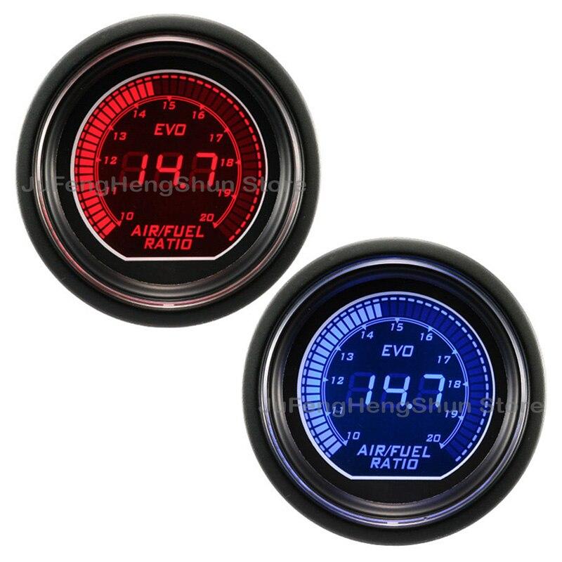 Jauge de rapport de carburant d'air de voiture de 52mm bleu et lumière LED rouge lentille de teinte de 12 V