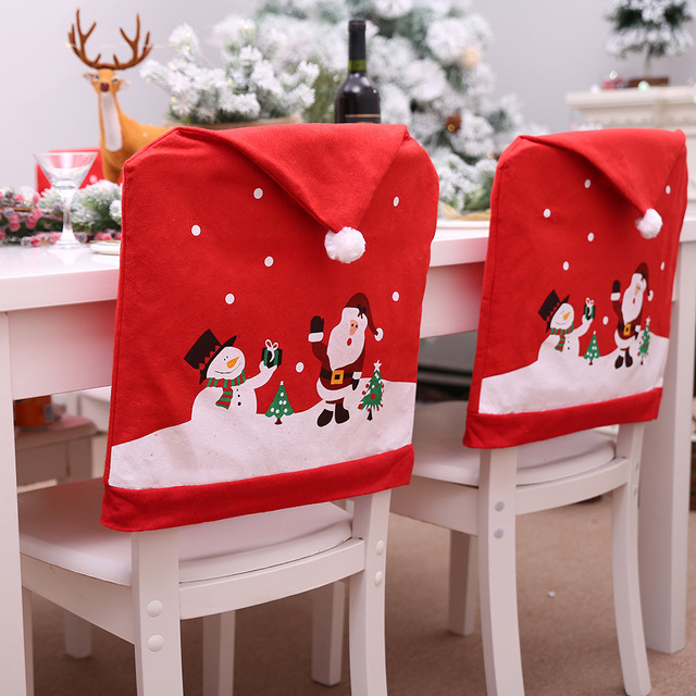 2018 New Santa Claus Cap Chair Cover Christmas Dinner Party Red Hat Chair Back Covers Xmas Christmas Decorations for Home AF038