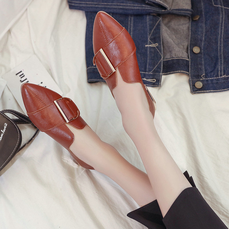 2018 brand spring women fashion Students shoes female Pointed Toe casual leather shoes low heels shallow girls shoes SB-24