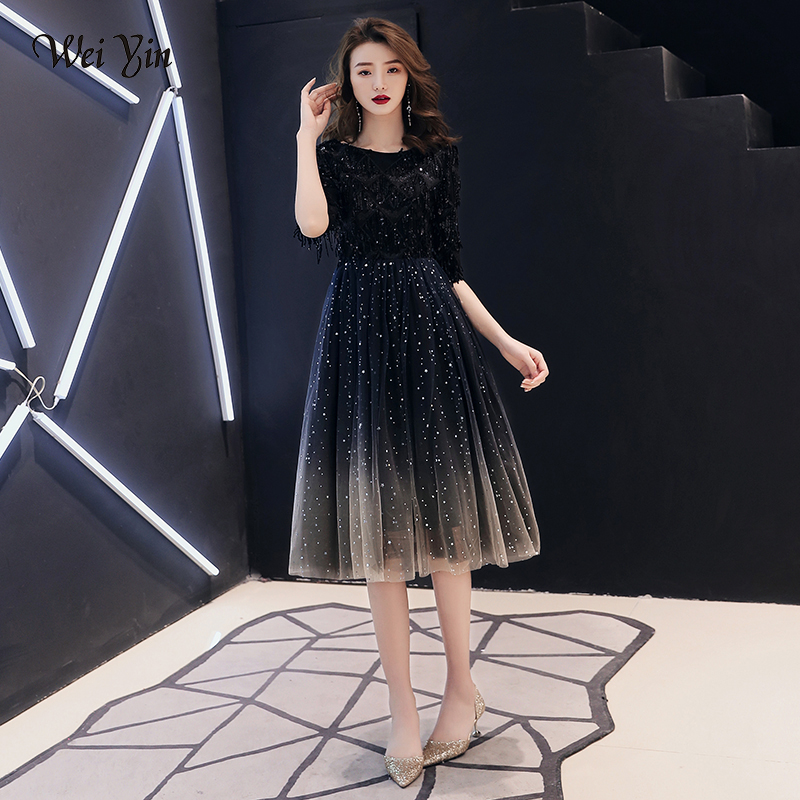wei yin 2019 New The Banquet Black Tasse A-line Half Sleeve Tea-length Tulle Party Formal   Evening     Dresses   Robe De Soiree WY1671