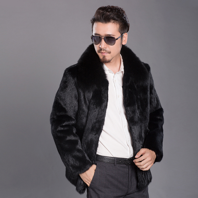 Winter Real Fur Coat Jacket For Men Fox Fur Collar Casual Men's Outwear Genuine Rabbit Fur Male Coat Winter Warm Outwear