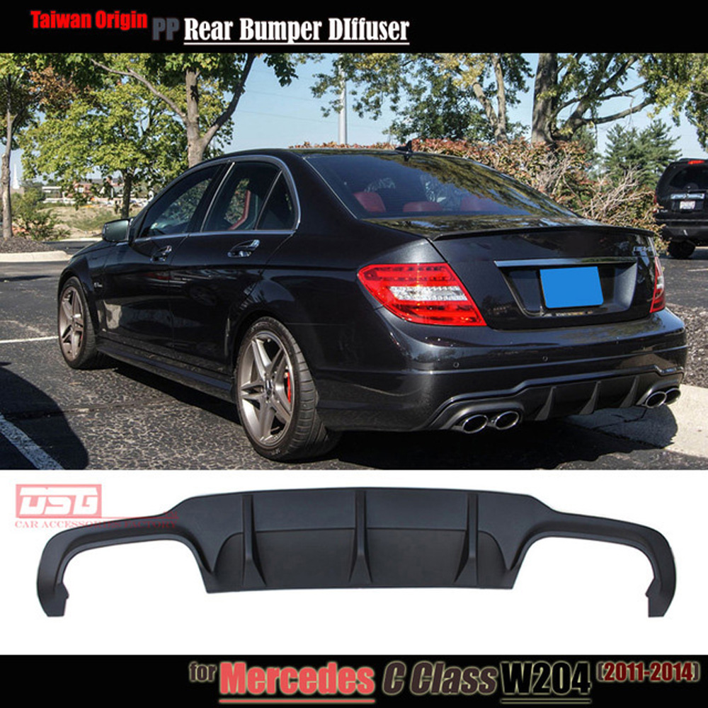 Mercedes c63 style w204 PP plastic rear bumper lip diffuser for 2011 2012 2013 2014 Benz C180 C200 C280 C300 C350 & C63 bumper w204 c180 c200 c260 c300 carbon fiber car rear trunk lip spoiler wing for mercedes benz w204 c63 4 door 2008 2013 amg style