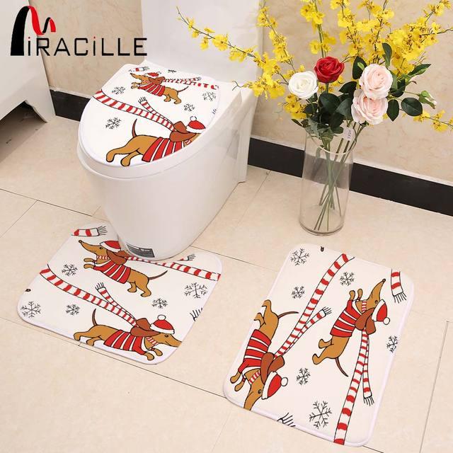Miracille Spessore Corallo Molle Caldo Pile Wc Seat Cover Set Fumetto Bassotto S