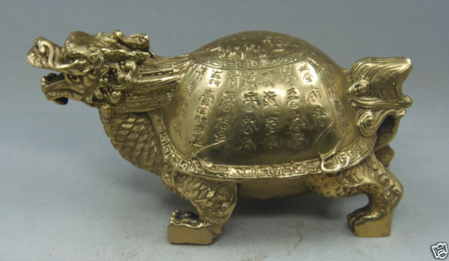 Ornements chinois sculptés à la main en laiton cuivre personnage Dragon tortue statue