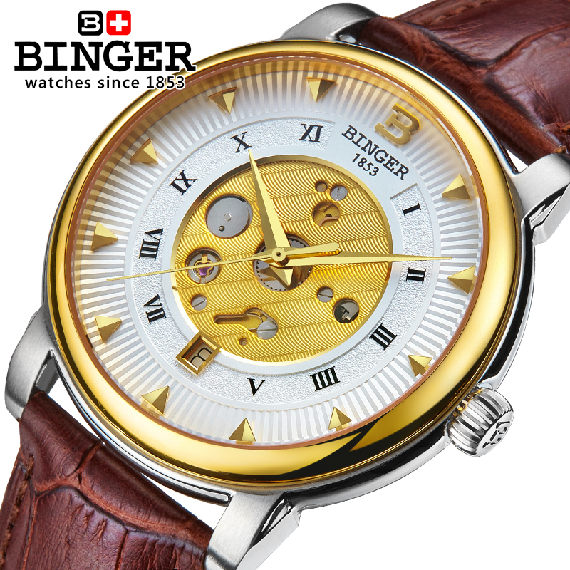 Switzerland Automatic Mechanical Watch Men Reloj Hombre Wrist Watches Male Sapphire Skeleton Stainless Steel Waterproof B-1160-2 switzerland mechanical men watches binger luxury brand skeleton wrist waterproof watch men sapphire male reloj hombre b1175g 1