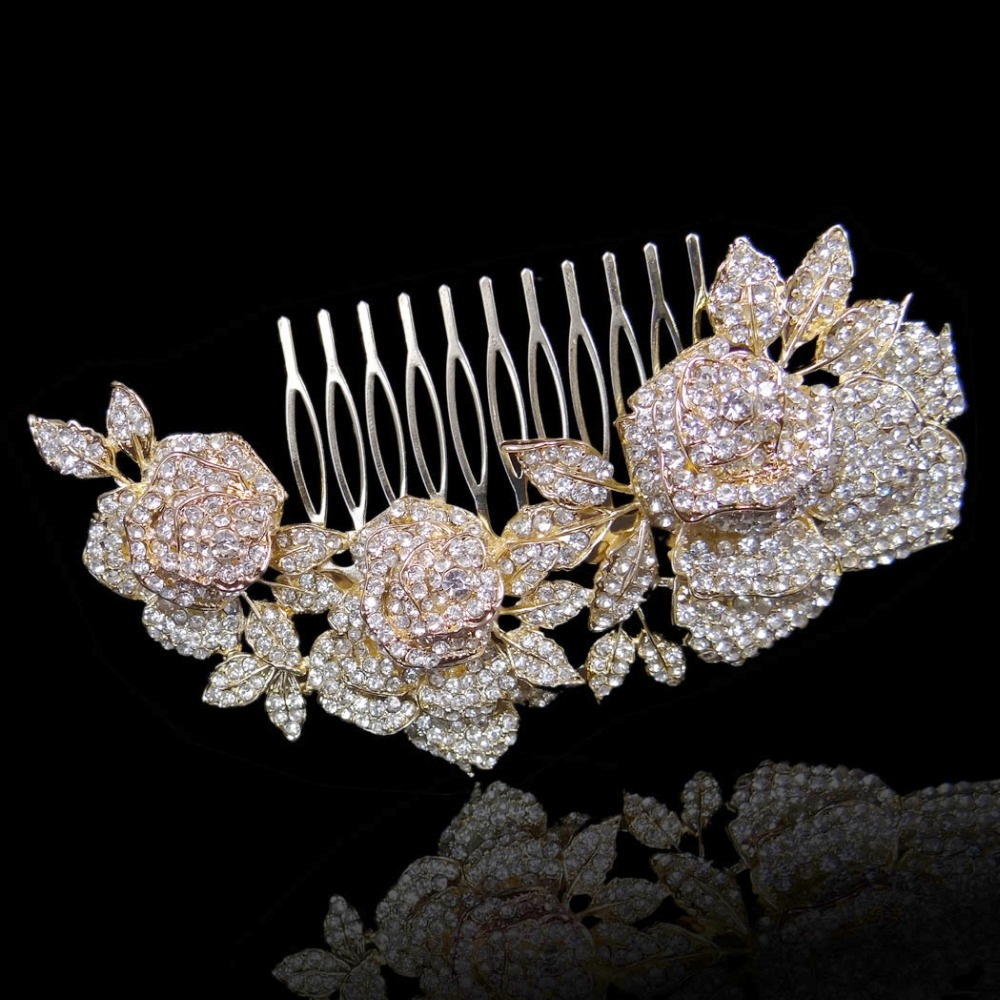 Bella Fashion Rose Gold Tone Luxury Leaf Teardrop Bridal Hair Comb Cubic  Zircon Wedding Hair Piece ... aebbe51a5aec