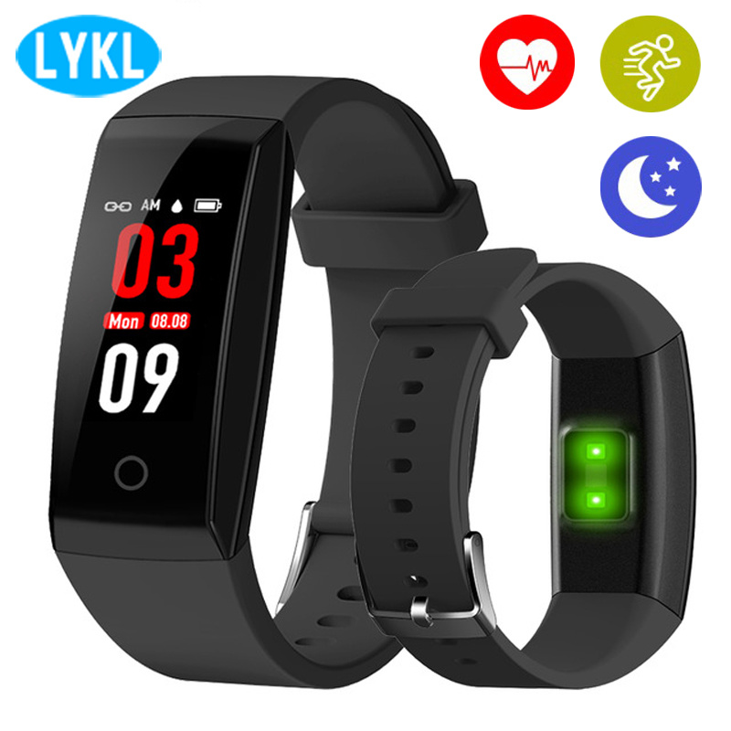 LYKL New W8 Smart Band Heart Rate Monitor OLED Sync Pedometer Call SMS Remind Sport Runing Sleep Fitness Tracker Smart Wristband