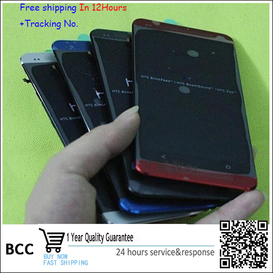 100% Original  For HTC ONE M7 Dual Sim 802t 802D 802W Lcd screen display touch screen digitizer Assembly+Bezel Frame 4 Colors