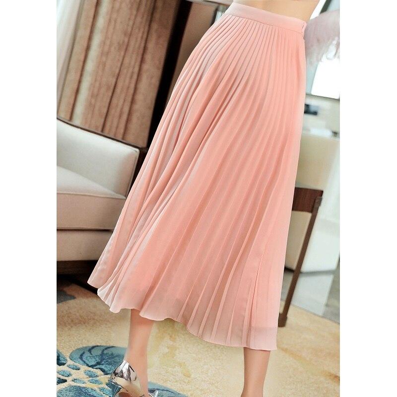 Высокое качество юбки 2019 Весна Лето Мода белый розовый юбка женская люрекс вышивка по щиколотку винтажные юбки плюс размер - 6