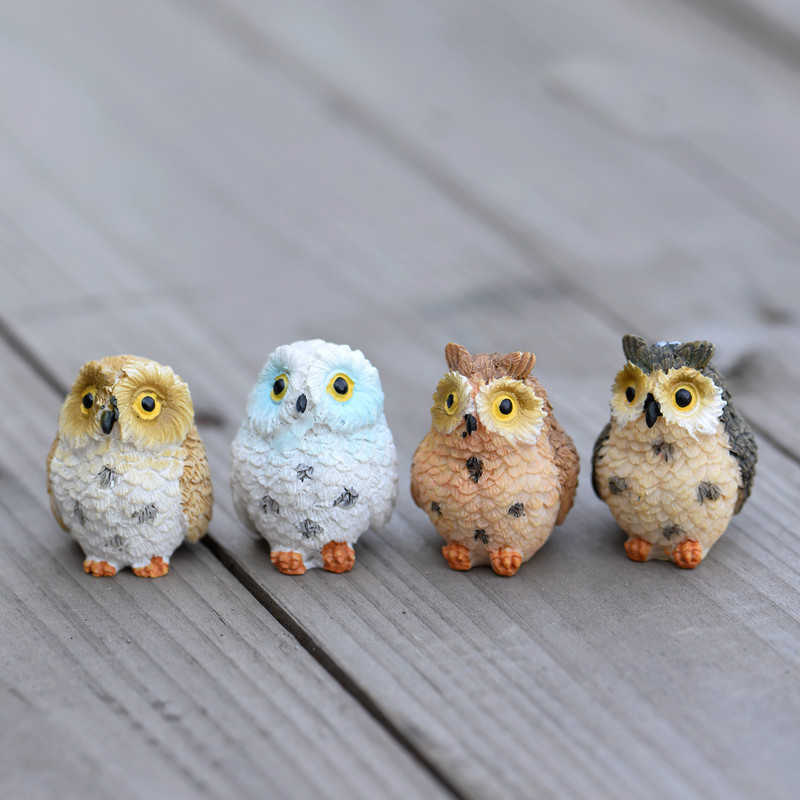 Cute Owls Animal Figurines Resin Miniatures Figurine Craft Bonsai Pots Home Fairy Garden Ornament Decoration Terrarium Decor