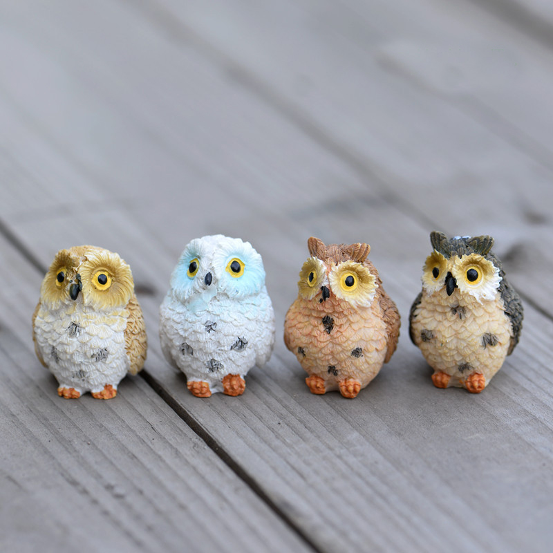 Cute Owls Animal Figurines Resin Miniatures Figurine Craft Bonsai Pots Home Fairy Garden Ornament Decoration Terrarium Decor