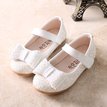 QGXSSHI child shallow mouth bow female child leather shoes all-match paillette princess sequin Student Single shoes