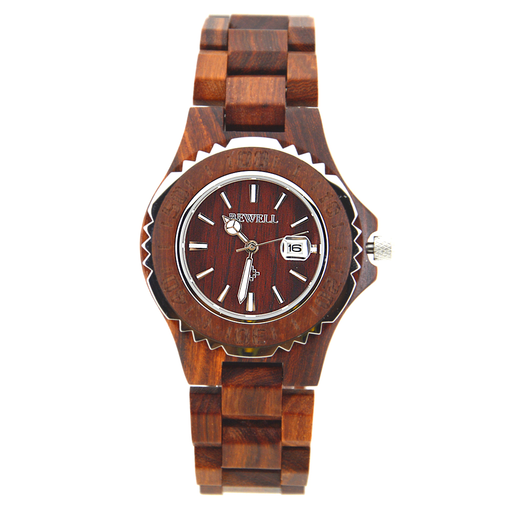 BEWELL Wrist-Watches Clock Wood Moment Female Ladies Luxury with Brand Calendar Bracelets