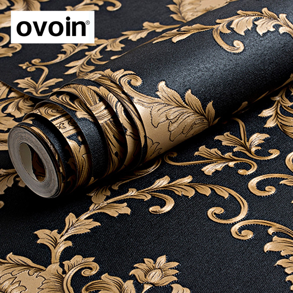 High Grade Black Gold Luxury Embossed Texture Metallic Damask wallpaper for wall Roll waterproof washable Vinyl PVC Wall Paper statue