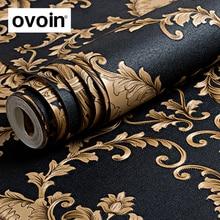 ハイグレード黒ゴールド高級エンボス質感メタリック3Dダマスクの壁紙ロール洗えるビニールpvcウォールペーパー