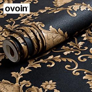 Image 1 - ハイグレード黒ゴールド高級エンボス質感メタリック3Dダマスクの壁紙ロール洗えるビニールpvcウォールペーパー