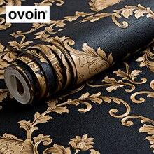 Papel pintado de Damasco 3D, rollo metálico con textura en relieve de lujo de oro negro, alta calidad, de vinilo lavable, PVC, para pared