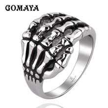 GOMAYA 316L Stainless Steel Rings Skull Hand Punk Mans Cool Ring Wholesale Gift Bague Vintage Black Gothic Jewelry