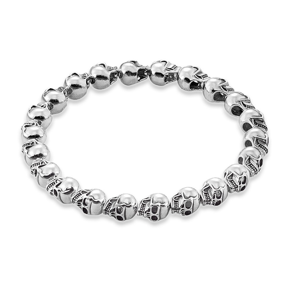 Silver Skulls Beads Strand Bracelets For Women & Men 2019 Spring New 925 Sterling Silver Rebel Fashion Jewelry Gift Bijoux