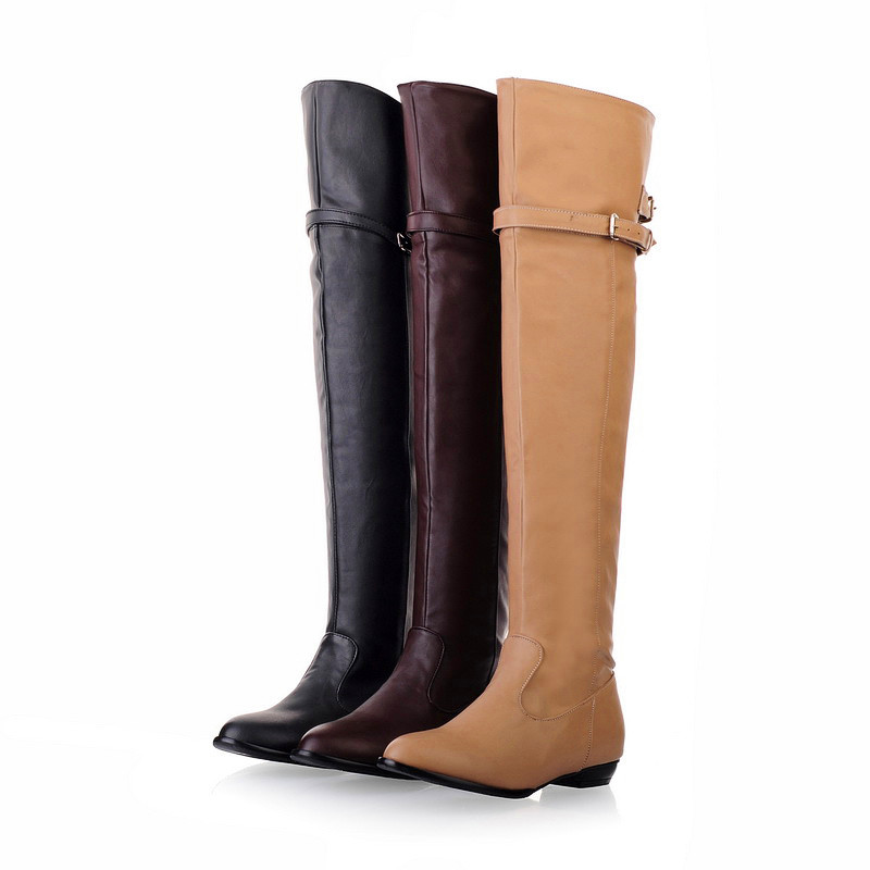 Women s Side Zipper Over The Knee Sexy Polo Dance High Booties Winter Leather Buckles Brown