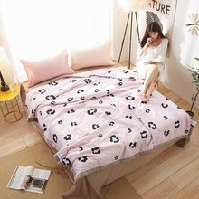2019 Pink Leopard Print Thin Summer Quilt Air-condition Stitching Comforter Satin Polyester Fabric Polyester Twin Queen Size(China)