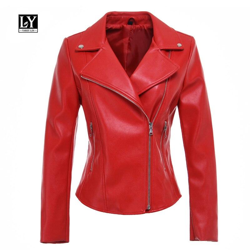 Ly Varey Lin New Faux   Leather   Jacket Women Motor   Leather   Jackets Soft PU Red Black Biker Coat Casual Zipper Punk Slim Outwear