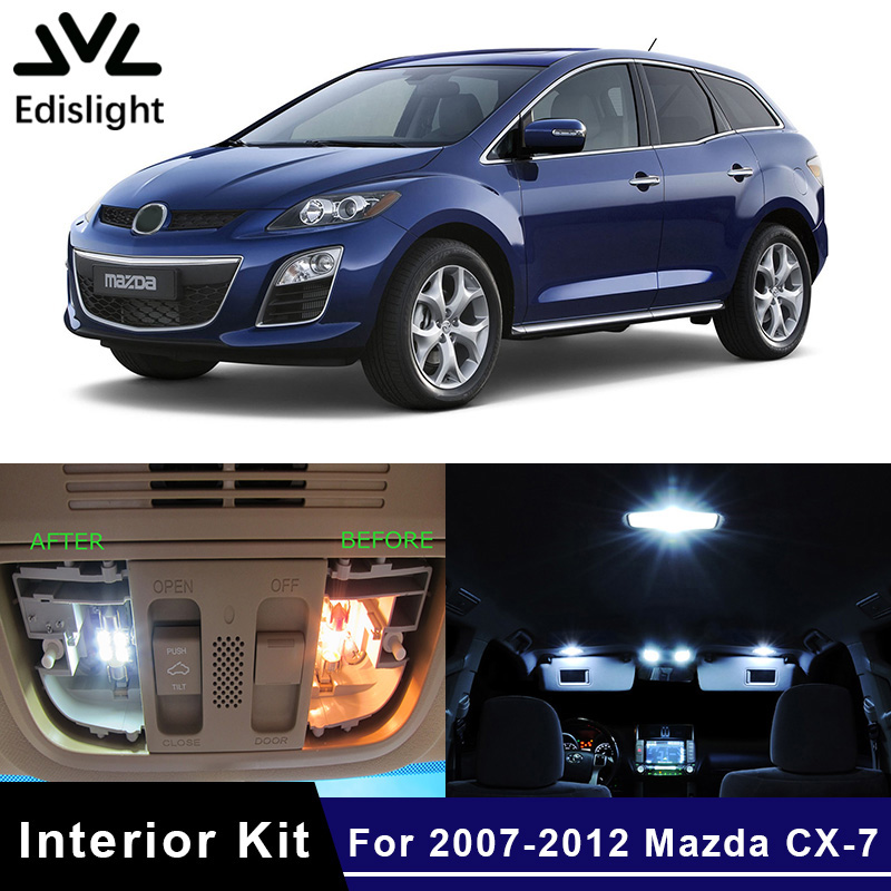 Edislight 12Pcs White Ice Blue Canbus LED Lamp Car Bulbs Interior Package Kit For 2007-2012 Mazda CX-7 CX7 Map Dome Trunk Light
