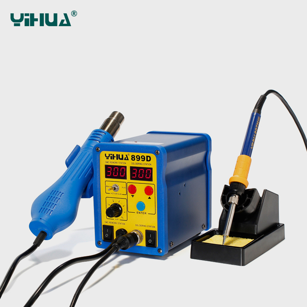 YIHUA 899D 2 in 1 220V or 110V BGA Rework Station Hot Gun Soldering Station  Iron Solder Soldering Heat Gun Digital LED displayYIHUA 899D 2 in 1 220V or 110V BGA Rework Station Hot Gun Soldering Station  Iron Solder Soldering Heat Gun Digital LED display