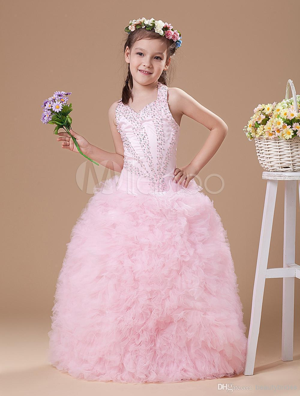Petal Flower Girl Dress Little Girls Formal Dresses Long Eggplant ...