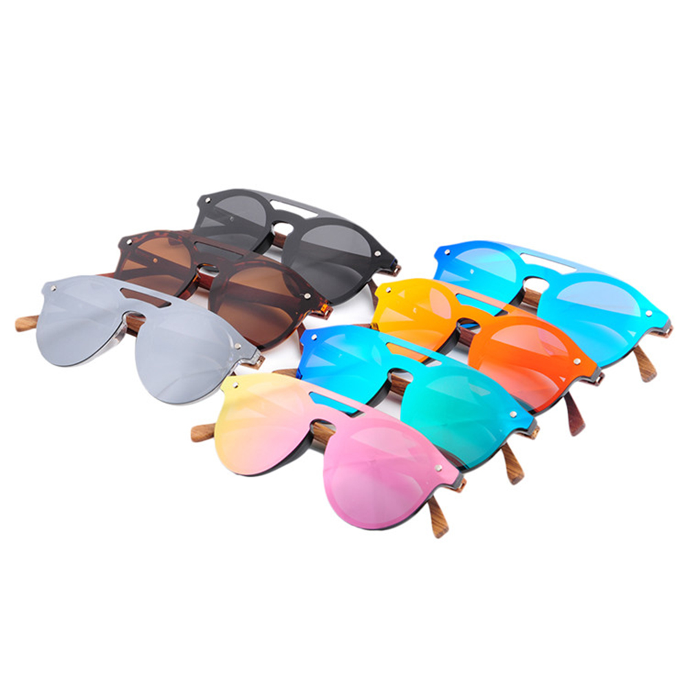 135f0b9c5a LONSY WOOD Temple Sunglasses one piece lens Sunglasses UV400 Polarized  LS5030 image