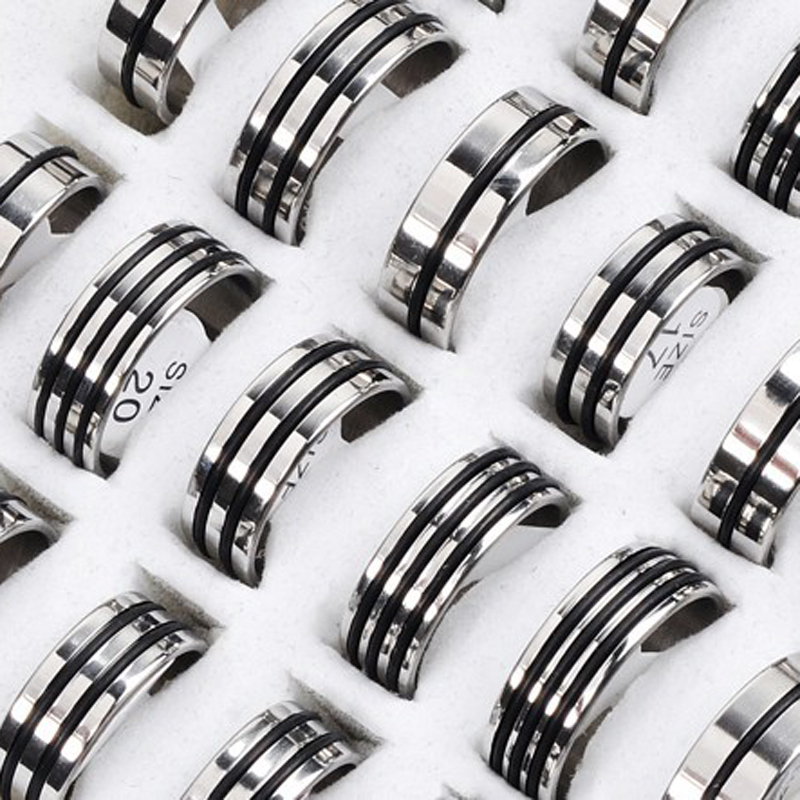 New Hot 12Pcs Mixed Stainless Steel Black Rubber Rings Wholesale Bulk Men Women Wedding Ring Jewelry Gifts 17-22mm(China)