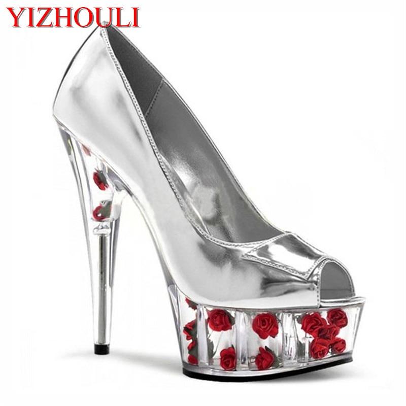 Cm zapatos Novia plata 15 Flores Rosa 6 Sexy Tacón Zapatos Lavanda Con Romántico Hermosas Cristal rojo Alto Plata Pulgadas De Plataformas Sqw4ByRqd