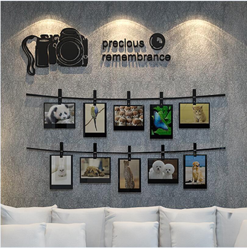 2017 nouveauté SLR caméra souvenirs 3D stickers muraux Photo mur salon canapé décoré chambre acrylique autocollants Art déco