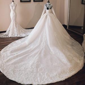 Image 2 - Vestido de Casamento Che Borda Appliques di Lusso Abito di Sfera Abiti Da Sposa Manica Lunga 2020 di Alta Collo Trouwjurk Vestito Da Sposa