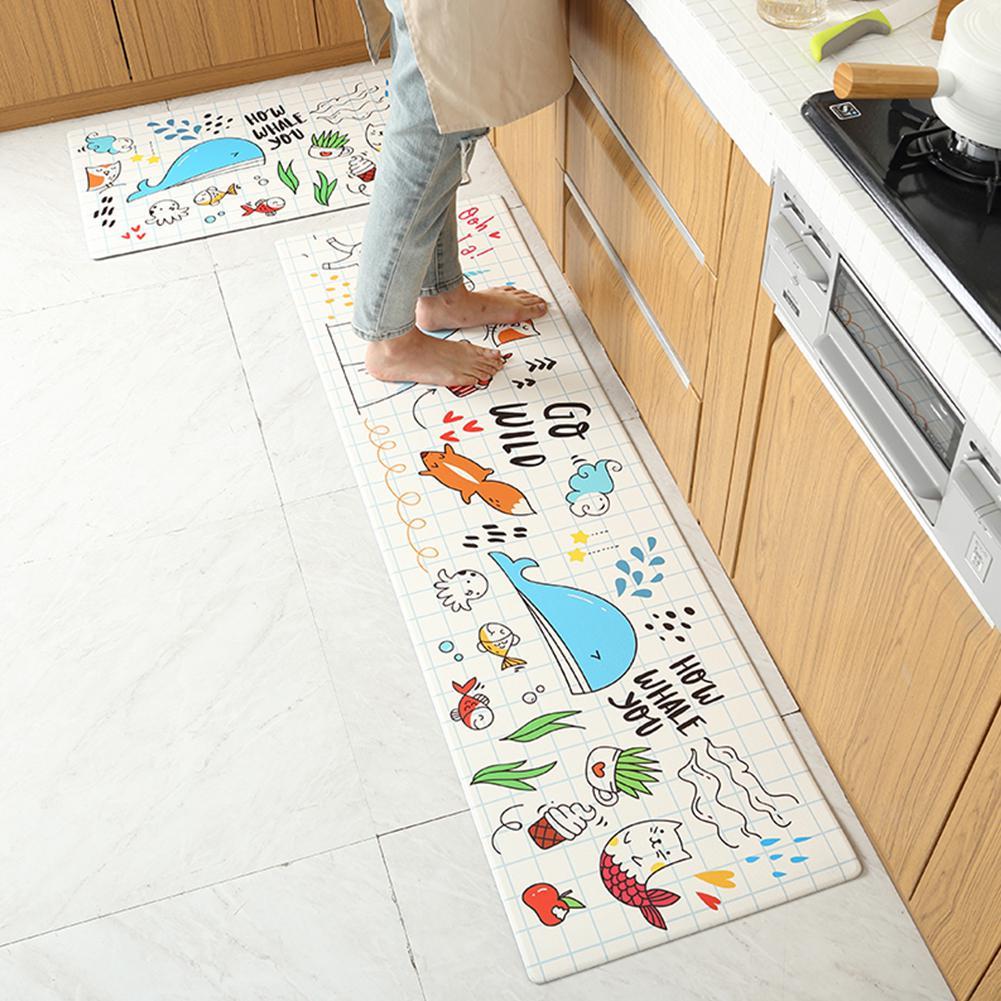 MeterMall imperméable à l'eau anti-dérapant PU tapis de sol pour cuisine dessin animé mer animaux imprimé tapis de sol Rectangle tapis livraison directe